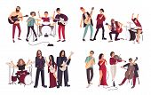 Different musical bands. Indie, metal, punk rock, jazz, cabaret. Young artists, musicians singing and playing music instruments. Colorful flat illustration set poster