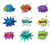 Isolated cartoon comic bubble speeches and onomatopoeia sounds like boom for explosion, oops and oh, omg and wow, wtf wonder exclamation, bang and crash, pow. Humour comic book, message theme poster