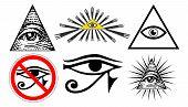 all seeing eye of providence illuminati new world order set vector poster