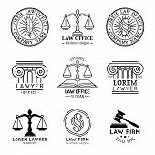 Law office logotypes set with scales of justice, gavel etc illustrations. Vector vintage attorney, advocate labels, juridical firm badges collection. Act, principle, legal icons design. poster
