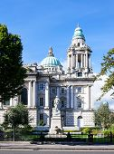 Titanic Memorial monument (erected in 1920) and Titanic Memorial Garden commemorating all the victims of Titanic disaster in Donegall Square in front of Belfast city hall Northern Ireland poster
