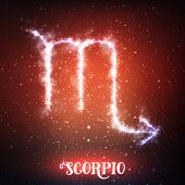 Vector abstract zodiac sign Scorpio on a dark red background of the space with shining stars. Nebula in form of zodiac sign Scorpio. Glowing zodiac sign Scorpio, The Scorpion Greek: Skorpios poster