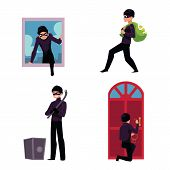 Set of thief, robber, burglar trying to steal money, break in the house, open safe, run away, cartoon vector illustration isolated on white background. Burglar, thief, robber in mask and black suit poster