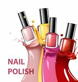 Colorful nail lacquer nail polish splatter on white background 3d illustration vogue ads for design Cosmetics and fashion background Template Vector. poster