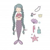 Beautiful cute cartoon mermaid with long hair. Siren. Sea theme. isolated objects on white background. Vector illustration. poster