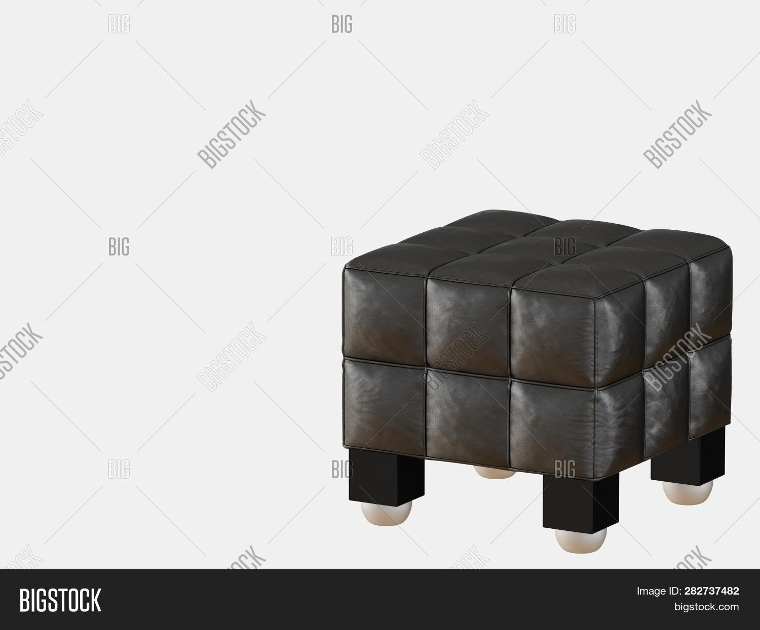 Incredible Black Leather Ottoman Image Photo Free Trial Bigstock Short Links Chair Design For Home Short Linksinfo