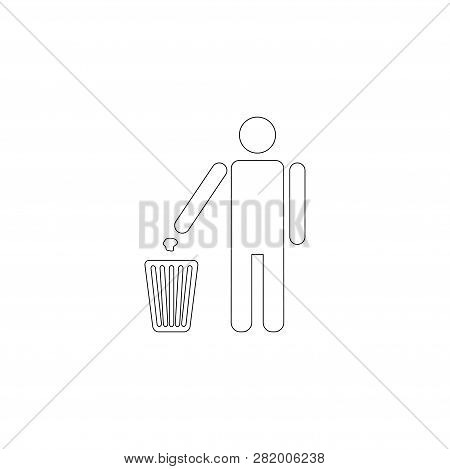 Person Throwing Garbage. Simple Flat Vector Icon Illustration. Outline Line Symbol - Editable Stroke