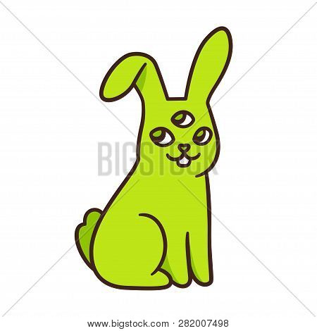 Funny Green Alien Rabbit Drawing. Cute Cartoon Radioactive Mutant Bunny With 3 Eyes. Isolated Vector