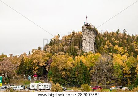 St Ignace, Michigan, Usa - October 14, 2018: The Castle Rock Roadside Attraction Along Interstate 75