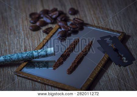 Conceptual Scene Of How A Coffee Addict Would Take His Coffee.