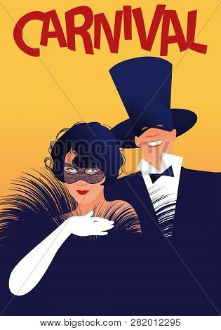 Woman With Fur Stole And White Gloves And Man In Top Hat Wearing Carnival Masks. Retro Style Carniva