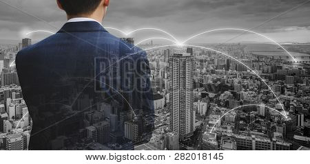 Business Network Technology, Logistics And Blockchain Business. Double Exposure Businessman With Cit