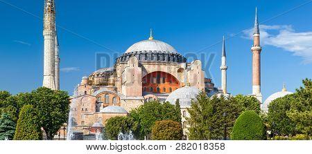 Hagia Sophia In Summer, Istanbul, Turkey. Ancient Hagia Sophia Or Aya Sofya Is A Top Landmark Of Ist