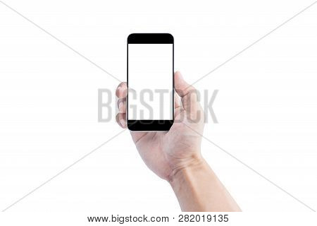 Hand Holding Mobile Smart Phone, Blank White Screen Isolated On White Background. Clipping Path Incl