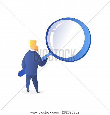 Bearded Businessman Character Looking Through Huge Magnifying Glass,back View, Male Manager In Blue
