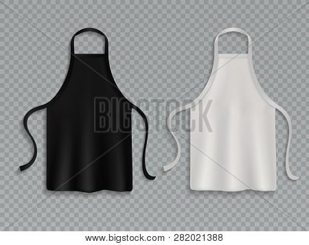 Chef Apron. Black White Culinary Cloth Aprons Chef Uniform Kitchen Cotton Cooking Clothes Isolated V