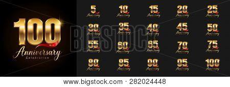 Set Of Anniversary Logotype. Golden Anniversary Celebration Emblem Design For Company Profile, Bookl