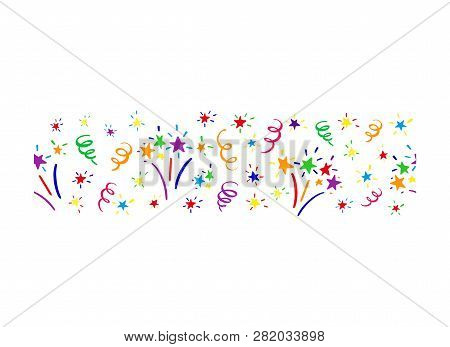 Horizontal Endless Colored Border With Fireworks, Stars And Serpentine Streamers. Template For Desig