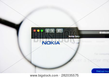 Los Angeles, California, Usa - 25 January 2019: Nokia Website Homepage. Nokia Logo Visible On Displa