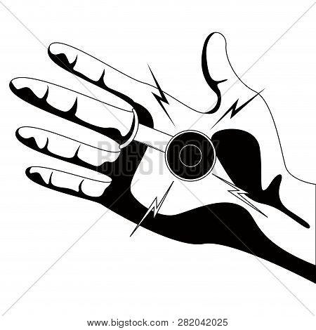 Joke Hand Buzzer Silhouette. April Fool. Vector Illustration Design