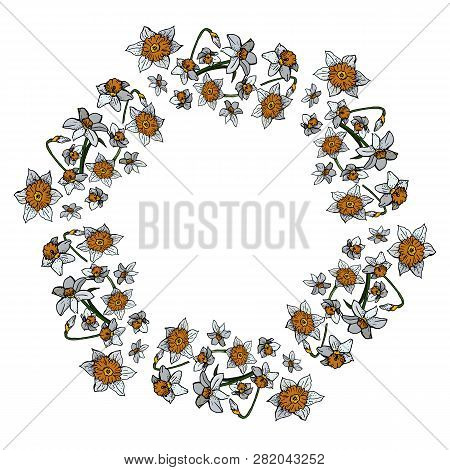 Wreath Of Daffodils. Watercolor Vector Illustration. Floral Design Elements. Global Color Used