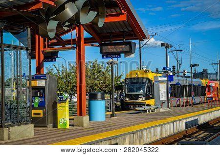 Minneapolis, Mn - May 2 2018: Train Arrives At 38th Street Station, A Metrotransit Light Rail Train