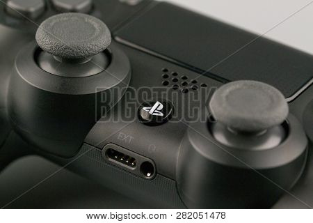 Minsk, Belarus - February 4, 2019: Video Games Playstation Console Gaming Controller Dualshock Gamep