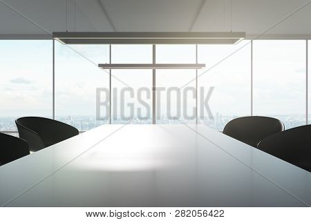 Modern Boarding Room Interior With Daylight And Panoramic View. 3d Rendering
