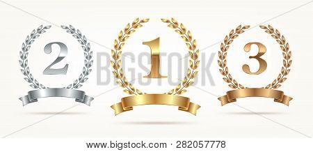 Set Of Rank Emblems - Gold, Silver, Bronze. First Place, Second Place And Third Place Signs With Lau