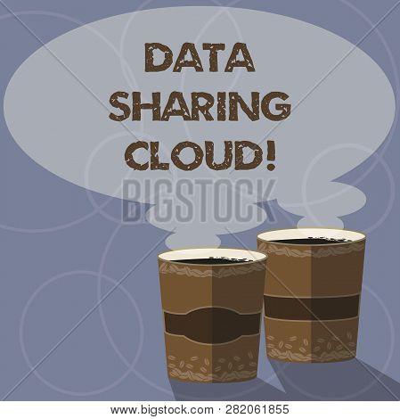 Conceptual Hand Writing Showing Data Sharing Cloud. Business Photo Showcasing Using Internet Technol