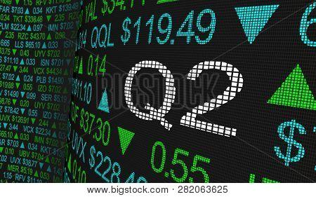 Q2 2nd Quarter Period Stock Market Ticker Words 3d Illustration