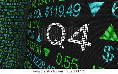 Q4 4th Quarter Period Stock Market Ticker Words 3d Illustration