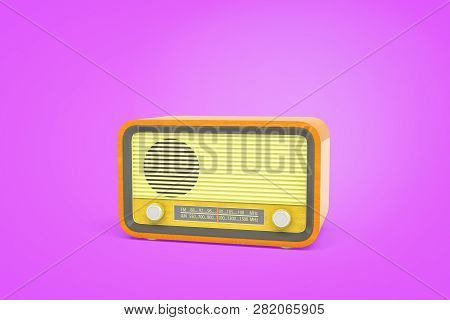 3d Rendering Of A Yellow Retro Radio Unit With A Radio Wave Indicator And A Turning Knob Stands On A