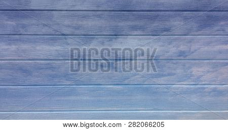 Blue Wooden Texture Background, Light Oak Of Weathered Distressed Washed Wood With Faded Varnish Pai