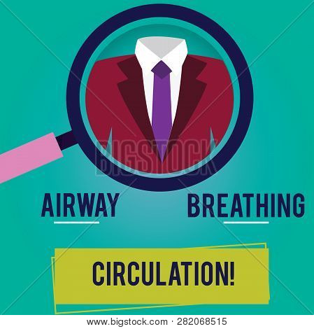 Conceptual hand writing showing Airway Breathing Circulation. Business photo showcasing Memory aid for rescuers performing CPR Magnifying Glass Enlarging a Tuxedo and Label Tag Below. poster