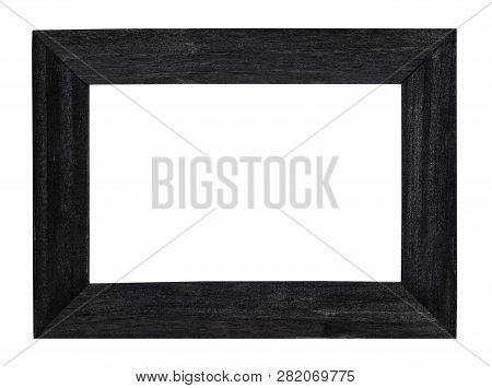 Empty Black Painted Wide Wooden Picture Frame With Cut Out Canvas Isolated On White Background