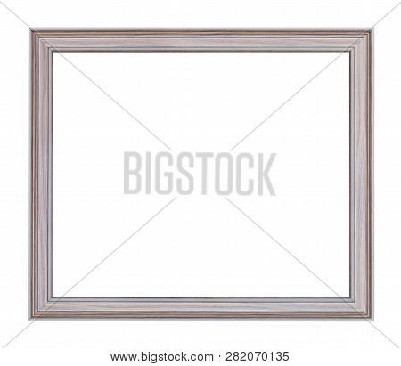Empty Modern Gray Carved Wooden Picture Frame With Cut Out Canvas Isolated On White Background