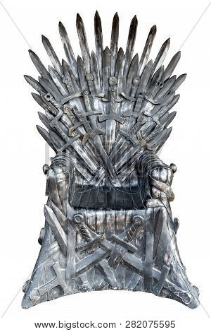 Swords Vintage Throne Isolated On White Background.