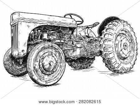 Old Vintage Tractor Vector Pen And Ink Illustration. Tractor Was Made In Dearborn, Michigan, United