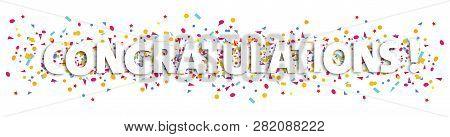 Congratulations Text And Confetti Illustration - Congratulation