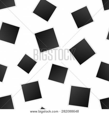 Blank Photo Frame Seamless Pattern Background. Business Flat Vector Illustration. Photoframe Symbol