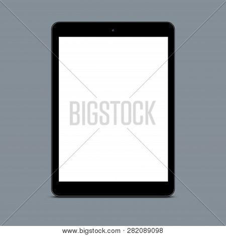 Vertical Shot Of Empty Screen Touchpad Against Grey Background For Your Promotional Content Or Adver