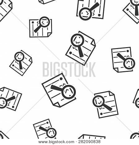 Document With Loupe Seamless Pattern. Business Concept Document Checkbox Pictogram. Vector Illustrat