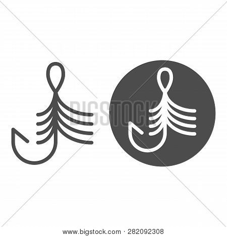 Fishing Hook Line And Glyph Icon. Bait Vector Illustration Isolated On White. Fishhook Outline Style