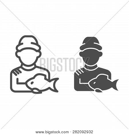 Fisherman With Fish Line And Glyph Icon. Fisher And The Catch Vector Illustration Isolated On White.