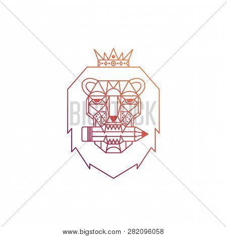 lion head with crown and pencil  thin line logo  geometric symbol of design,