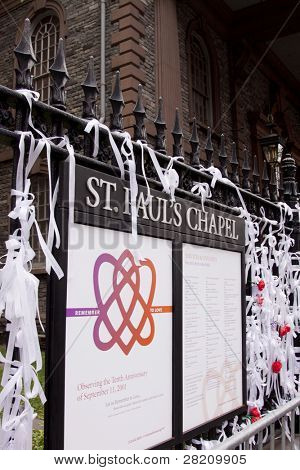 NEW YORK - SEPT 11: 'Ribbons of Remembrance' tied to the iron fence at St Paul's Chapel near Ground Zero on the 10th anniversary of the 9/11 terrorist attacks on September 11, 2011 in New York.