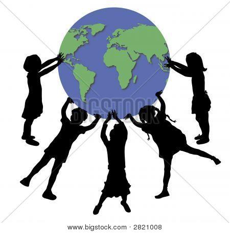 Children Holding World