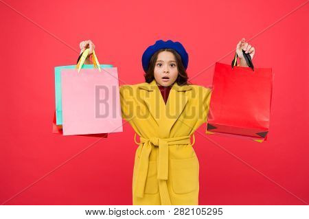 Obsessed With Shopping. Get Major Wardrobe Refresh With Spring Sales At Stores. Girl Cute Kid Hold S