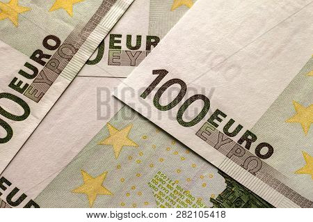 Money, Busyness And Finances Concept. Bright Colorful Light Background Made Of Euro National Currenc
